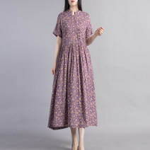 Dress Summer 2021 Light blue light purple rust red L XL Mid length dress singleton  Short sleeve commute stand collar Loose waist Decor Socket A-line skirt routine Others 40-49 years old Beccaccio ethnic style Pleated pocket with lace up button print BKQ4015 51% (inclusive) - 70% (inclusive) cotton