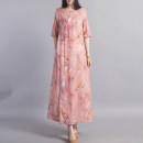 Dress Spring 2021 10 days for pink and 10 days for yellow M L Mid length dress singleton  elbow sleeve commute V-neck Loose waist Decor Socket A-line skirt routine Others 40-49 years old Type A Beccaccio ethnic style Button print on pocket BKQ81138 More than 95% hemp Ramie 100%