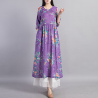 Dress Spring 2021 Purple without white pants green without white pants M L Mid length dress singleton  Short sleeve commute V-neck Loose waist Decor Socket Pleated skirt routine Others 40-49 years old Type A Beccaccio ethnic style Pleated pocket button print BKQ81118 More than 95% hemp Ramie 100%