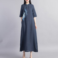 Dress Spring 2021 Black Navy M L Mid length dress singleton  three quarter sleeve commute stand collar Loose waist Solid color Socket A-line skirt routine Others 40-49 years old Beccaccio ethnic style Embroidered button More than 95% hemp Ramie 100% Pure e-commerce (online only)