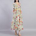 Dress Autumn 2020 Green flowers and rice flowers L M Mid length dress singleton  Long sleeves commute V-neck Loose waist Decor Socket A-line skirt routine Others 40-49 years old Type A Beccaccio ethnic style Pleated pocket lace up print BKQ7036 More than 95% hemp Flax 100%