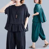 Women's large Spring 2020 Two piece set commute easy thin Socket Short sleeve Solid color Crew neck routine other Three dimensional cutting 30-34 years old pocket Hollowing out