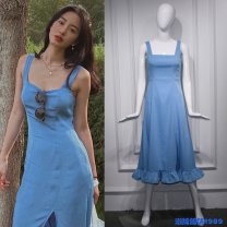 Dress Winter 2016 Blue dress S,M,L Mid length dress square neck Solid color 18-24 years old Joruw Lotus leaf edge lhcf10534