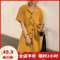 Women's large Summer 2020 yellow M L XL 2XL 3XL 4XL 5XL Dress singleton  Sweet easy moderate Cardigan Short sleeve Solid color Polo collar Medium length Three dimensional cutting routine Dieliting 18-24 years old belt Short skirt Other polyester 95% 5% Pure e-commerce (online only) Pencil skirt