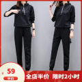 Women's large Autumn 2020 Big M big l big XL big 2XL big 3XL big 4XL big 5XL Sweater / sweater Three piece set street easy moderate Socket Long sleeves stripe Polo collar routine Three dimensional cutting routine Dieliting 18-24 years old Polyester 95% polyurethane elastic fiber (spandex) 5% trousers
