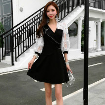 Dress Spring 2020 S M L XL Short skirt singleton  elbow sleeve commute V-neck High waist Solid color zipper Ruffle Skirt bishop sleeve Others 25-29 years old Type A Misogh Korean version More than 95% other Other 100% Pure e-commerce (online only)
