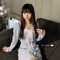 Dress Spring 2021 Light blue, black Average size Short skirt singleton  Long sleeves commute square neck High waist Solid color Socket A-line skirt routine Others 18-24 years old Type A Korean version 30% and below other other