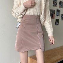 skirt Winter 2020 S,M,L Black, pink Short skirt commute High waist Irregular Solid color Type A Under 17 30% and below other other zipper Korean version