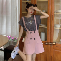 Dress Summer 2021 Pink strap skirt , Grey short sleeve , White strap skirt M. L, average size Short skirt singleton  commute High waist Solid color A-line skirt straps Under 17 Type A Korean version 30% and below other