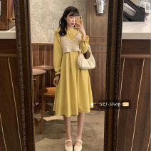 Dress Spring 2021 One piece black vest, one piece black dress Average size longuette singleton  Long sleeves commute High waist Solid color Socket A-line skirt 18-24 years old Type A Korean version 30% and below other other