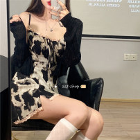 Dress Summer 2021 Cow skirt, black cardigan S. M, l, average size Short skirt Two piece set Sleeveless High waist A-line skirt camisole Under 17 Type A Other / other 30% and below other other