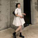 Dress Summer 2021 White, black Average size Short skirt singleton  Short sleeve commute Polo collar Solid color A-line skirt 18-24 years old Type A Other / other 30% and below other