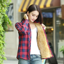 shirt Dark blue red, red white blue, red blue, red yellow blue, red green, little red black, blue yellow, green red, blue cyan, green black Winter 2017 cotton 96% and above Long sleeves commute Regular Polo collar Single row multi button routine lattice Straight cylinder Yager red Korean version