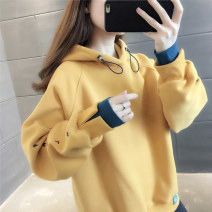 Sweater / sweater Winter 2020 Average size Long sleeves routine Socket Fake two pieces Plush Hood Straight cylinder commute routine Solid color 25-29 years old Flowers are suitable Korean version thread Pure e-commerce (online only)