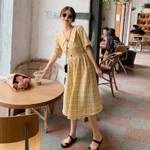 Dress Summer 2021 Blue and yellow S M L Mid length dress singleton  Short sleeve commute Admiral High waist lattice Single breasted Big swing routine Others 18-24 years old Madiun  Korean version Button MLF20210350 More than 95% other other Other 100% Pure e-commerce (online only)