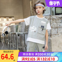 suit First touch Black light grey 100cm 110cm 120cm 130cm 140cm 150cm 160cm male summer leisure time Short sleeve + pants 2 pieces Thin money There are models in the real shooting Socket nothing letter cotton children Learning reward 210405s mark Cotton 95% polyurethane elastic fiber (spandex) 5%