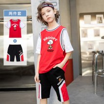 suit First touch 100cm 110cm 120cm 130cm 140cm 150cm 160cm male summer motion Short sleeve + pants 2 pieces routine There are models in the real shooting Socket nothing Cartoon animation cotton birthday 210317s - American football Class A Cotton 95% polyurethane elastic fiber (spandex) 5% Summer 2021