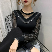 Lace / Chiffon Spring 2021 Black and white S M L XL Long sleeves commute Socket singleton  easy Regular Crew neck other routine 18-24 years old Xunwei XW20a1878 Korean version 91% (inclusive) - 95% (inclusive) Other 100% Pure e-commerce (online only)