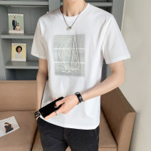 T-shirt Youth fashion Tx88045 white tx88045 gray tx88045 black routine 4XL M L XL 2XL 3XL First tone Short sleeve Crew neck easy motion summer TX88045B3 Cotton 100% routine tide Summer 2021 cotton No iron treatment Pure e-commerce (online only) More than 95%
