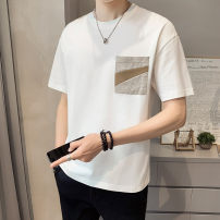 T-shirt Youth fashion Tx016 black tx016 Khaki tx016 white thin 4XL M L XL 2XL 3XL First tone Short sleeve Crew neck easy Other leisure summer TX016-2 Cotton 100% routine tide Summer 2021 cotton No iron treatment Pure e-commerce (online only) More than 95%