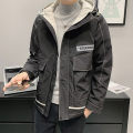 Jacket First tone Youth fashion M1001 grey m1001 black 4XL M L XL 2XL 3XL routine Self cultivation Other leisure spring M1001-10 Polyester 100% Long sleeves Wear out Hood tide routine Zipper placket No iron treatment Loose cuff Spring 2021 Zipper decoration Side seam pocket polyester fiber