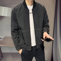 Jacket First tone Youth fashion Jk6601 black 4XL L XL 2XL 3XL routine Self cultivation go to work spring Polyester 100% Long sleeves Wear out Baseball collar tide routine Zipper placket No iron treatment Closing sleeve Spring 2021 Zipper decoration Pure e-commerce (online only) polyester fiber