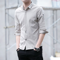 shirt Youth fashion First tone M L XL 2XL 3XL Thin money Pointed collar (regular) three quarter sleeve Self cultivation Other leisure summer 2768M youth Cotton 98% other 2% Business Casual 2020 Solid color Color woven fabric Summer 2020 No iron treatment cotton Button decoration More than 95%
