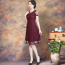 Dress Summer 2020 Purplish red M L XL 2XL 3XL 4XL Mid length dress singleton  Short sleeve commute Crew neck High waist other A-line skirt routine 35-39 years old Type A KTH lady Lace MY92426-1 More than 95% polyester fiber Polyester 100% Exclusive payment of tmall