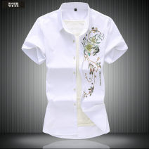 shirt Fashion City Grand Line  XXL 4XL 5XL 6XL 7XL M L XL 3XL White black light blue Thin money Pointed collar (regular) Short sleeve standard daily summer Large size Polyester 67% Cotton 30% polyurethane elastic fiber (spandex) 3% Chinese style 2020 Plants and flowers Color woven fabric Spring 2020