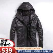 leather clothing Ayefifo / night flying bat Youth fashion Black hide with cotton M. L, XL, 2XL, 3XL, 4XL (recommended 184-199 kg), 5XL (recommended 200-230 kg) routine Leather clothes Hood Straight cylinder zipper spring leisure time youth top layer leather Business Casual L-C-3 Round hem