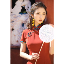 cheongsam Spring 2020 S M L XL XXL 3XL [y-2085] rust red medium length Short sleeve long cheongsam Retro Low slit daily Oblique lapel Solid color 18-25 years old HCY20062 Red clothes other Other 100% Pure e-commerce (online only)