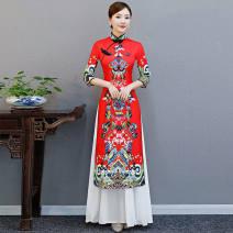 cheongsam Spring 2021 S,M,L,XL,2XL,3XL,4XL,5XL three quarter sleeve long cheongsam ethnic style High slit Oblique lapel polyester fiber