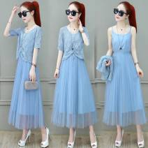 Dress Summer 2020 Apricot suit, pink suit, blue suit, blue singleton top, pink singleton top, apricot singleton top, blue singleton skirt, apricot singleton skirt, pink singleton skirt S,M,L,XL,2XL longuette Two piece set elbow sleeve commute Pleated skirt Others straps other
