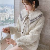 short coat Winter 2020 S,M,L,XL Off white (high quality) Long sleeves routine Plush singleton  easy other routine Doll Collar Frenulum 96% and above Bowknot, lace up, stitching polyester fiber