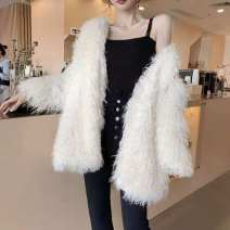 leather and fur Winter 2021 Other / other White, black S,M,L,XL,2XL Medium length Sweet V-neck other