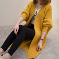 sweater Autumn 2021 Average size Yellow, dark green, black, light khaki Long sleeves Cardigan singleton  Medium length other 30% and below V-neck commute Bat type