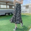 skirt Spring 2021 S,M,L,XL,2XL black Mid length dress commute High waist A-line skirt Broken flowers Type A 18-24 years old 8-6710-8 Chiffon Korean version