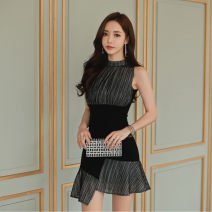 Dress Summer of 2019 Picture color XS,S,M,L,XL,2XL Mid length dress Two piece set Sleeveless commute stand collar High waist Solid color Socket A-line skirt other Others 25-29 years old Type X Korean version Zipper, asymmetric, stitching, pleating, pleating 3308Q04-27 other other