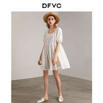 Dress Summer 2020 white S M L Mid length dress singleton  Short sleeve street square neck Loose waist Solid color Socket A-line skirt puff sleeve Others 25-29 years old Type A dfvc Hollowed out embroidery and crochet DV21S0959 More than 95% cotton Cotton 100% Pure e-commerce (online only)