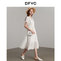 Dress Summer 2020 white S M L XL XXL longuette singleton  Short sleeve street V-neck Solid color Socket A-line skirt Petal sleeve Others 25-29 years old dfvc Hollowing out DV21S0677 More than 95% cotton Cotton 100% Pure e-commerce (online only) Europe and America