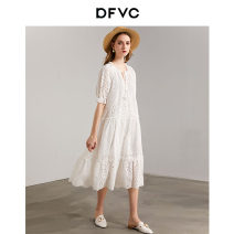 Dress Summer 2020 white S M L Mid length dress singleton  elbow sleeve street V-neck Loose waist Solid color Socket A-line skirt other Others 25-29 years old Type A dfvc More than 95% cotton Cotton 100% Pure e-commerce (online only) Europe and America