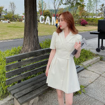 Dress Summer 2021 Apricot S M L Short skirt singleton  Short sleeve commute tailored collar High waist Solid color Single breasted A-line skirt routine Others 18-24 years old Shfanny / Savannah Korean version B2110521C More than 95% polyester fiber Pure e-commerce (online only)