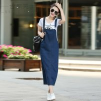 Dress Spring 2017 Dark blue premium 2XL, s, m, l, XL, the number of yards is too large, take a small one longuette singleton  Sleeveless commute other Loose waist Solid color Socket One pace skirt other straps 18-24 years old Type A Other Korean version straps j6204 More than 95% Denim other