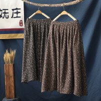 skirt Spring 2021 Average size Brown Black Middle-skirt commute High waist A-line skirt Broken flowers Type A 30-34 years old More than 95% Wojow / Wuzhuang other printing Retro Other 100% Exclusive payment of tmall