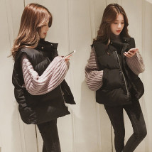 Vest Fall of 2018 SMLXL2XL Brown apricot powder h black Z Brown f apricot powder black Commuting Standing collar Dark buckle Short paragraph Pocket button zipper Pure color I-shaped 18-24 years old Ma Shangmei MSM#MJ002 Pure electricity supplier (only online sales) Polyamide fiber (nylon) 100%