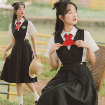 Dress Summer 2021 black S,M,L,XL longuette Two piece set Short sleeve Sweet Polo collar High waist Solid color Socket A-line skirt shirt sleeve Others 18-24 years old Type A Bow, button x3321#123123 71% (inclusive) - 80% (inclusive) cotton solar system
