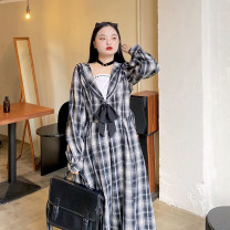 Women's large Winter 2020 Dawn light with thick black plaid skirt (in stock), dawn light with thick black plaid skirt (pre-sale) Large XL, large XXL, large XXL Dress singleton  Sweet moderate Socket Long sleeves lattice Admiral shirt sleeve 18-24 years old belt 31% (inclusive) - 50% (inclusive) other