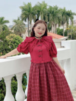 Women's large Summer 2021 Double collar red plaid skirt (in stock), double collar red plaid skirt (pre-sale) Large XL, large XXL, large XXL Dress singleton  Sweet Short sleeve Double collar puff sleeve 18-24 years old 31% (inclusive) - 50% (inclusive) Medium length other solar system