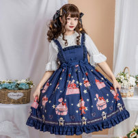 Fashion suit Summer 2020 S,L,M Black suspender skirt, cyan suspender skirt, light pink suspender skirt, light blue suspender skirt, light purple suspender skirt, shirt, Ji sleeve shirt (one size only) polyester fiber