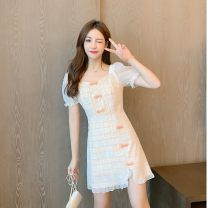 Dress Summer 2020 S. M, l, XL, to ensure that the real object is consistent with the picture Short skirt singleton  Short sleeve commute square neck middle-waisted lattice Socket A-line skirt pagoda sleeve Others 18-24 years old Type A Korean version Button, button 31% (inclusive) - 50% (inclusive)